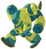 A vector cartoon clip art illustration of a giant yellow robot walking forward with a lumbering gait