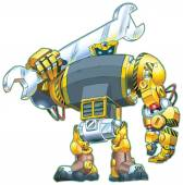 Vector cartoon clip art illustration of a giant tough-looking robot holding a wrench on its shoulder Great for construction or repair themes