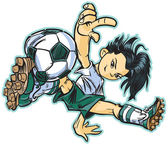 Asian Break Dancing Soccer Girl Vector Clip Art