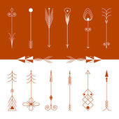 Isolated vector hand drawn tribal vintage retro arrows set