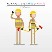 Flat Character Male & Female  Fire Fighter