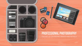 Photographer's bag with professional equipment flat lay banner with copy space