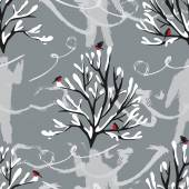Winter trees with snow and birds big Foot pattern