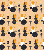 Cats musicians seamless flat pattern