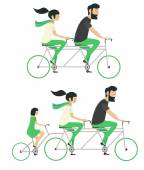 Young couple with child riding bicycle set Hipster style