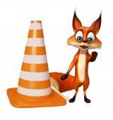 Zábava Fox kreslené postavičky s kuželem stavební
