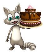 Roztomilý mýval kreslená postava s dortem