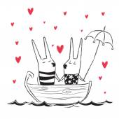 Vector illustration of hand drawn Valentine's Day card with cute rabbits on a lake and red hearts