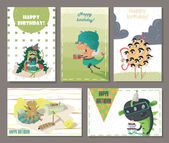 Set of beautiful birthday cards decorated with cartoon monsters gifts cakes and sweets Fun and cute horizontal and vertical composition scratched kind bright vector illustration