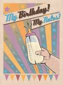 Birthday poster in retro style with a baby hand holding milk bottle Vector Birthday greeting card Vintage birthday illustration