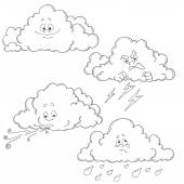 Set of cartoon clouds Characters for coloring book Different emotions