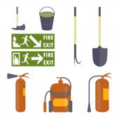 Set of fire equipment Fire extinguishers shovel hook bucket an ax and Fire safety signs Elements for fire-fighting baners flayers infographic Vector eps10 illustration