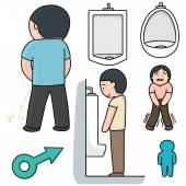 Vector set of man peeing