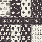 Graduation patterns collection Graduational seamless backgrounds set with graduate men and women hats champagne bells wreathes and college building elements