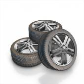 Set of car wheels  isolated on a white background