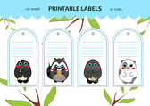 Vector collection printable set of gift tags, labels, stickers with kawaii cartoon forest animals: mole, raccoon, china panda bear. Flat elements for design. Blank space for your text included
