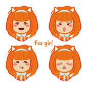 Kawaii vector icon set Redheaded girl with different funny cute emotions smiles Happy angry grumpy sly sweet face Fox ears and tail Isolated on white background