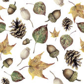 Watercolor autumn forest seamless pattern. Hand painted pine cone, acorn, berry and yellow and green fall leaves ornament isolated on white background. Botanical illustration for design, print, fabric