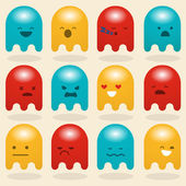 Set of multi-colored ghosts depicting different emotions