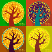 Back To School abstract background with education stylized tree