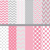 A vector illustration of Polka Dot and Chevron seamless pattern set