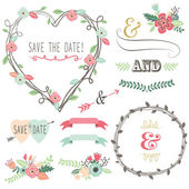 A vector illustration of Vintage Wedding Flora Heart Shape
