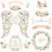A vector illustration of Floral Angel Wing Easter Elements