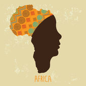 Map of Africa as a profile of African woman in turban Vector Illustration