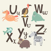 Cute zoo alphabet in vector V w x letters Funny animals Vulture walrus x-ray fish Yak and zebra