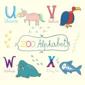 Cute zoo alphabet in vector U v w x letters Funny animals Unicorn vulture walrus and x-ray fish