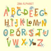 Cute zoo alphabet in vector with different animals Vector illustration