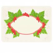 Label for your text with pink outline with a picture of leaves and berries red currants located on the perimeter of the shape on a textured light background Growing processing selling