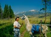 Muž škádlení Lama