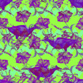 Seamless abstract pattern with exotic birds, hibiscus flowers and chevron ornament, blended effect, luminous colors.