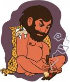 Funny prehistoric cave man lighting fire with a stick and a peace of wood EPS8 vector illustration