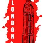 Постер, плакат: Big Ben Sketch on red Spot