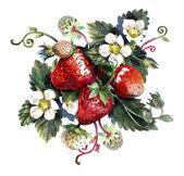 Složení s jahodami. Akvarel na bílém pozadí