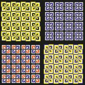 Set of four colored patterns A seamless background of geometric squares and arcs Yellow blue black orange colors Vector illustration