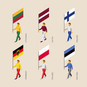 Set of isometric 3d people with flags Standard bearers - Germany Latvia Estonia Lithuania Finland Poland