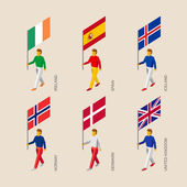 Set of isometric 3d people with flags Standard bearers infographic - Denmark United Kingdom (England) Spain Norway Ireland Iceland