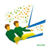 Physically disabled sailors Sailing for people with disabilities - vector clip art Flat sport infographics icon