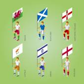 Set of isometric football players with flags Europe soccer infographics icons 3D standard bearers of Cyprus Israel England Wales Northern Ireland Scotland