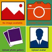 Colorful set of no image available or Picture, no photo: blank picture, camera, photography icon and silhouette of a man. Missing image icon or uploading pictures. vector illustration