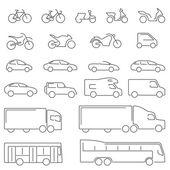 Ploché Line - přeprava vozidel ikon. Kompletní sada ikon rovné linie na bílém pozadí se všemi prostředky silniční dopravy