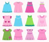Set children's summer dresses Collection cute clothes for girls Vector illustration