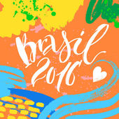 Hand drawn lettering Brazil Modern calligraphy Ink illustration Design for banner poster card souvenir flyer brochure t-shirt Isolated on textured colour abstract background