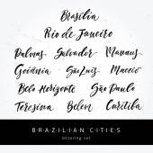 Hand drawn lettering Brazilian cities Modern calligraphy Ink illustration Design for banner poster blogpost map card souvenir flyer brochure t-shirt Isolated Vector