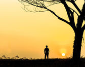 Silhouette Lonely Man sunset
