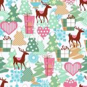 Cute Christmas seamless pattern  — Stock Vector