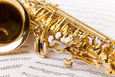 Beautiful golden alto saxophone — Stock Photo